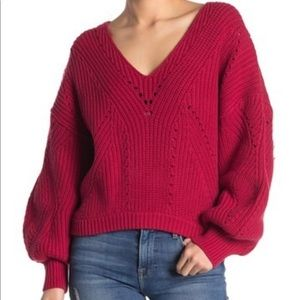 Free People All Day Long V Neck Sweater